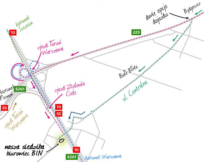 Mapa dojazdowa Cross-Projekt Białe Błota